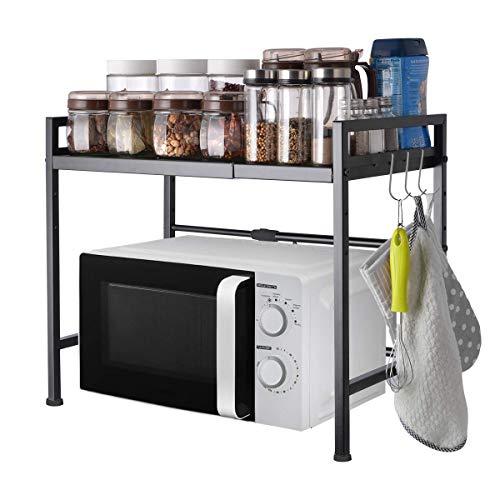 Hivexagon Erweiterbares Mikrowellen Ofen Regal Ständer mit doppelter Lagereinheit - Erweiterbare Länge & Höhe - mit 3 Haken perfekt für Küchenablagen Organizer HG526