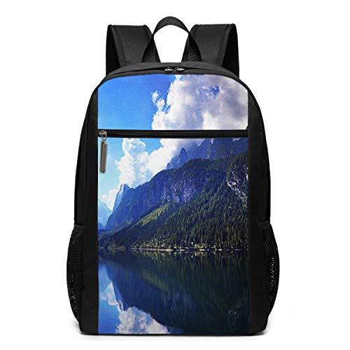 OMNVEQ Mochila Escolares Paisaje del Lago Austriaco, Mochila Tipo Casual para Niñas Niños Hombre Mujer Mochila para Ordenador Portátil Viaje