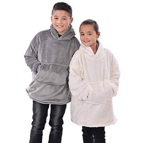 Kids Eskimo Sherpa Hoodie - Warm & Cozy - Soft and Comfy - One Size Grey