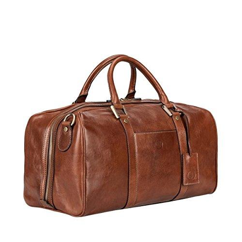 Maxwell-Scott Personalisierte Handgefertigte Leder Weekender Reisetasche FleroS in Cognac Braun