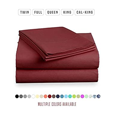 Luxe Bedding Sets - Microfiber Twin Sheet Set 3 Piece Bed Sheets, Deep Pocket Fitted Sheet, Flat Sheet, Pillow Case Twin Size - Burgundy