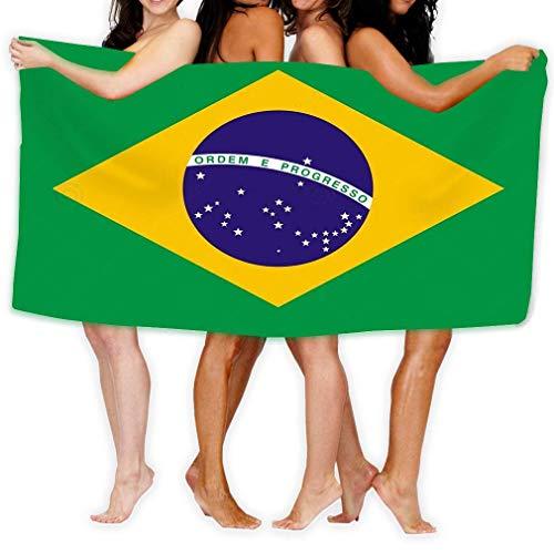 AGHRFH Toalla de Playa de 31 x 51 Pulgadas, Suave, Ligera, Absorbente, para baño, Piscina, Yoga, Pilates, Picnic, Manta, Bandera de Brasil, Color Verde, Dibujo eléctrico