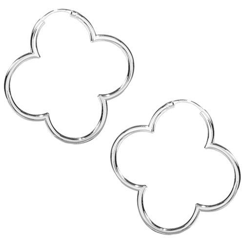Vinani Creolen Blume glänzend mittel Hoop Flower Silber 925 Ohrringe Kreolen 2CBS