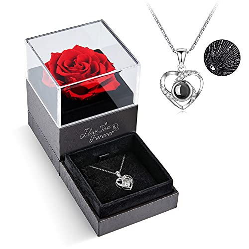 Preserved Red Real Rose with I Love You Necklace in 100 Languages -Enchanted Rose Flower Gifts for Mom Wife Girlfriend Her on Mothers Day Valentines Day Anniversary Christmas Birthday Gifts for Women