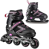 NILS 2in1 inline skates / schaatsen Extreme NH11912A zwart/roze ABEC9 maat 31-34 35-38 39-42 verstelbaar