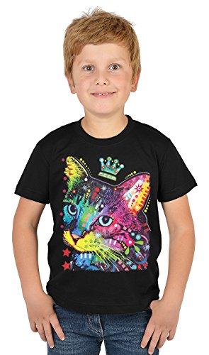 Katzen-Motiv Kindershirt - Kunstdruck Katze mit Krone- buntes Katzenshirt für Kinder : Thinking Cat Crowned - Tiermotiv Katze Kinder T-Shirt Gr: L = 146-152