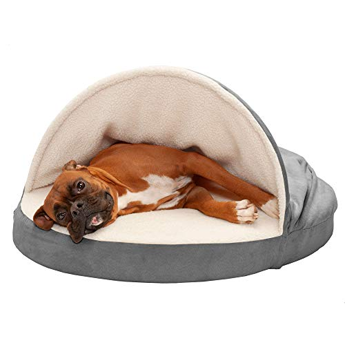Furhaven Pet Dog Bed - Memory Foam Round Cuddle Nest Faux Sheepskin Snuggery Blanket Burrow Pet Bed with Removable Cover for Dogs and Cats, Gray, 35-Inch