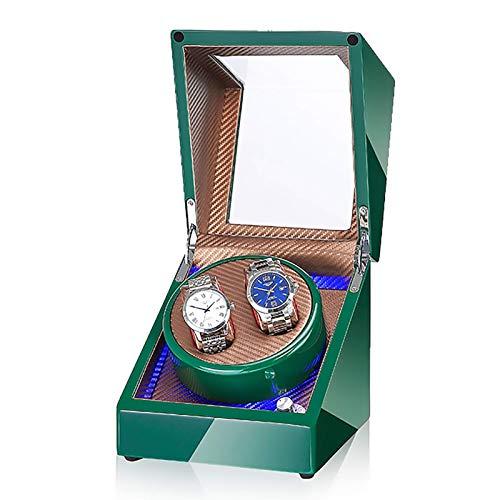 Uhrenbeweger - 2 + 0 LED-Licht Automatische Drehuhr Gerät Mechanischer Uhrenschüttler Haushaltsstummschaltung Rotationsmotor Uhr Wickelbox Aufbewahrungskoffer Batterie AC Dual-Modus (Farbe: # 015)