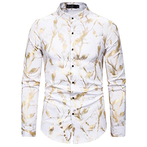 Herren Regular Fit Beach Shirt Herrenhemden Langarm Funky Printed Leinenhemd...