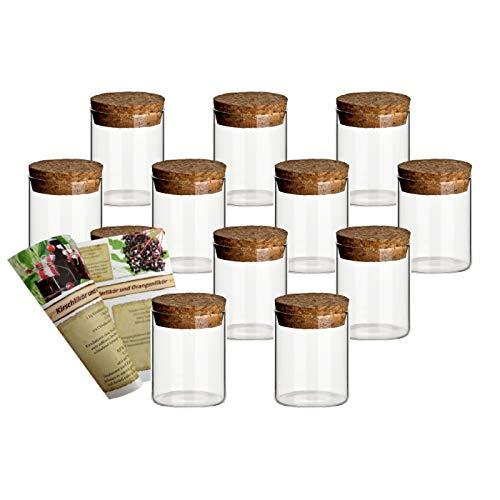 gouveo, set di barattoli in vetro borosilicato con tappo in sughero, di scorta, per spezie, Vetro, 50 ml