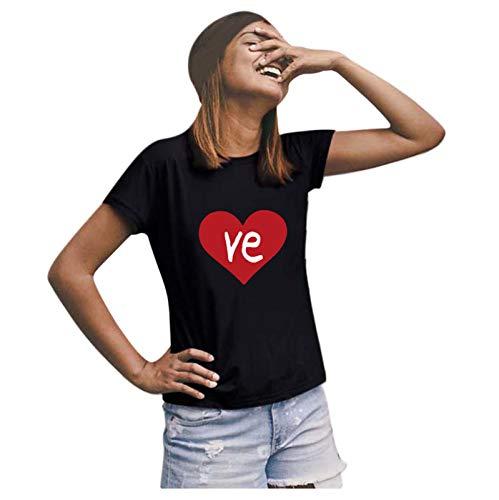 t Shirt Damen Shirt Damen T-Shirts Frauen Paare Liebhaber Valentinstag Kurzarm Liebesbrief Print Tops (XL,7Damen-Schwarz)