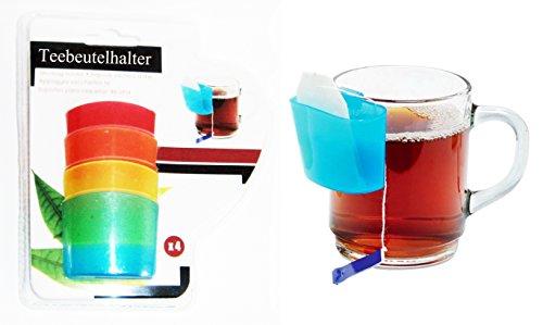 Eco 4X Teebeutelhalter mit Tassenhalterung Kunststoff Tassenutensilo Kekshalter 05