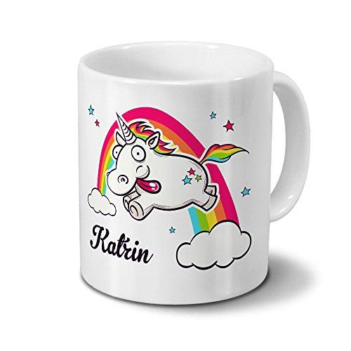 printplanet Tasse mit Namen Katrin - Motiv Verrücktes Einhorn - Namenstasse, Kaffeebecher, Mug, Becher, Kaffeetasse - Farbe Weiß