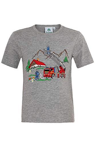 Isar-Trachten Kinder T-Shirt 'Feuerwehr' grau, GRAU, 104