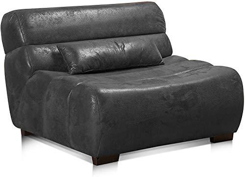 Cavadore Sessel Scoutano in Antiklederoptik / XXL-Sessel ohne Lehne im Industrial Design / 114 x 76 x 108 cm / Lederoptik Schwarz