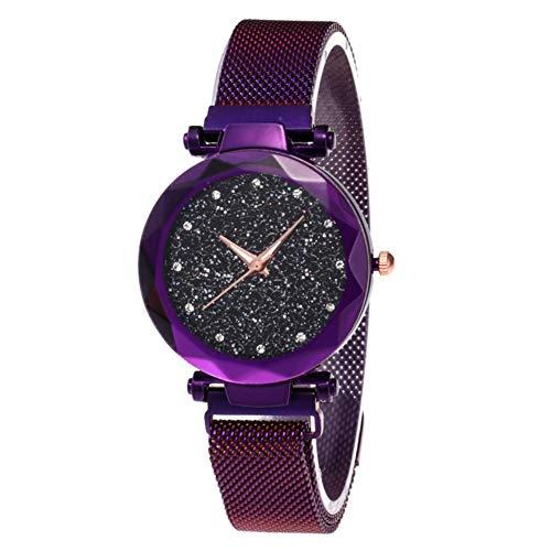 Damen-Armbanduhr, Sternenhimmel, modische elegante Damen-Quarz-Armbanduhr mit dünnem magnetischem Armband, aus Stahl und Armband, Damen, Lila + Armband