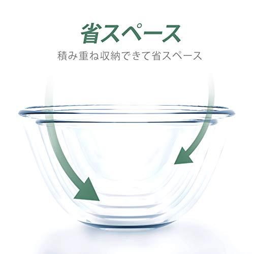 Kitsure 耐熱ガラス ボウル 5個セット 透明 丸型 サラダボウル(500ml/700ml/1000ml/1.5L/2.5L)電子レンジ・食器洗い機・オーブン対応 耐熱耐冷 洗浄便利 シンプル