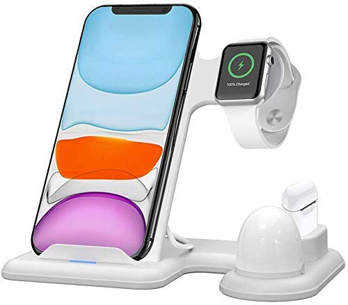 FGA Cargador Soporte de Cargador inalámbrico 3 en 1, estación de Carga para Apple Watch Series 5/4/3/2/1 / iPhone 11/11 Pro / 11 MAX/XS/XS MAX/XR / 8/8 Plus/Samsung Galaxy S10 / Airpods