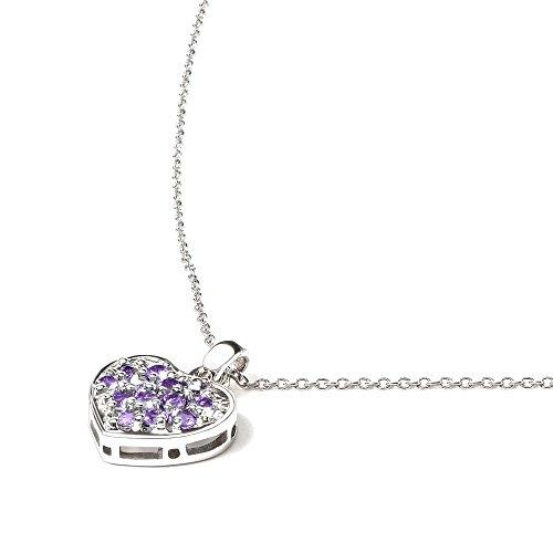 Silvancé - Damenschmuck Collier - 925 Silber, rhodiniert - echter Edelstein: Amethyst - Länge: 45cm - P163A
