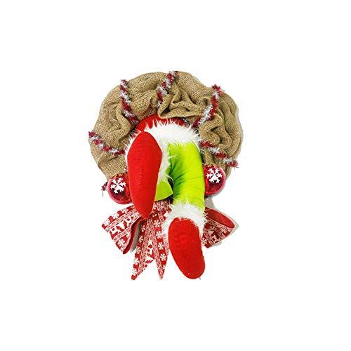Corona de Navidad para puerta delantera exterior, hecha a mano, corona de ladrn de Navidad, corona de arpillera con alambre para decoracin de interiores