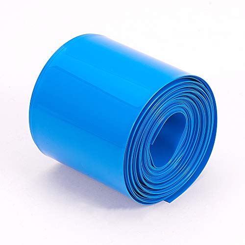 Othmro 50mm Flat Width 6m Length PVC Heat Shrink Tubing Blue for 2×18650 Batteries