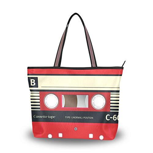 NaiiaN Bolsos de hombro para mujeres, niñas, señoras, estudiantes, peso ligero, correa, bolso, bolso de mano, arte, casete, música, bolsos de audio retro