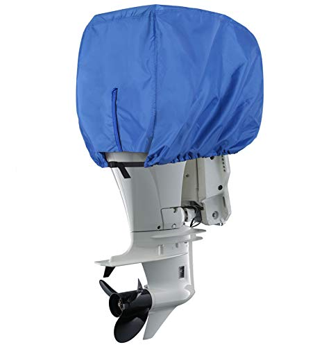 Explore Land Outboard Motor Cover - Waterproof 600D Heavy Duty Boat Engine Hood Covers - Fit for Motor 50-115 HP, Blue