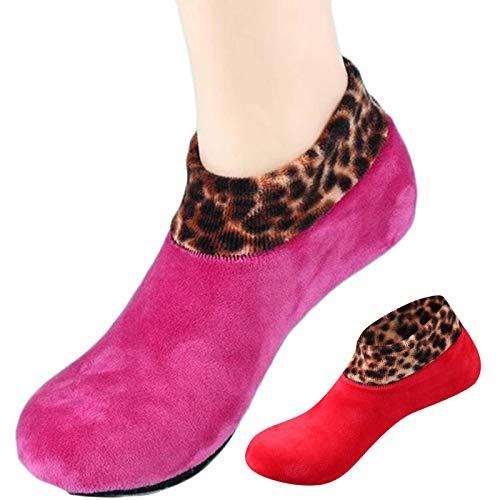 YZU Calcetines de invierno para mujer, diseño de leopardo, calcetines térmicos antideslizantes para el suelo, pantuflas de interior, calcetines de forro polar, suaves y gruesos, rosa y rojo