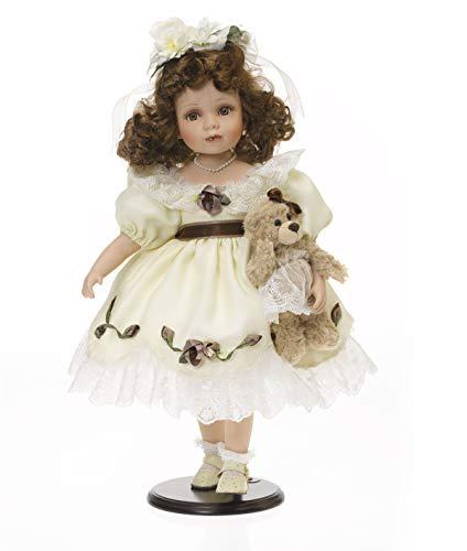SAMMLERPUPPE Porzellanpuppe, Künstlerpuppe Mädchen mit Festkleid und Teddy 48cm 120578