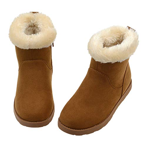 Girls Fuzzy Warm Winter Short Boots with Furry Faux Fur Lining Brown Size Toddler US 10
