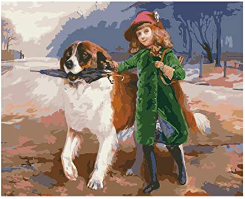 Superlucky Bilder Malen nach Zahlen handgemalte leinwand gemälde Bilder an der Wand DIY digitales ölgemälde mädchen mit Hund gerahmt 40x50 cm B07K8PS7K5 | Deutschland Online Shop