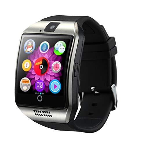 AKDSteel Bluetooth Smart Watch Herren Q18 mit Touchscreen, große Batterie, unterstützt TF-SIM-Karte, Kamera für Android Handy, Smartwatch, Silber