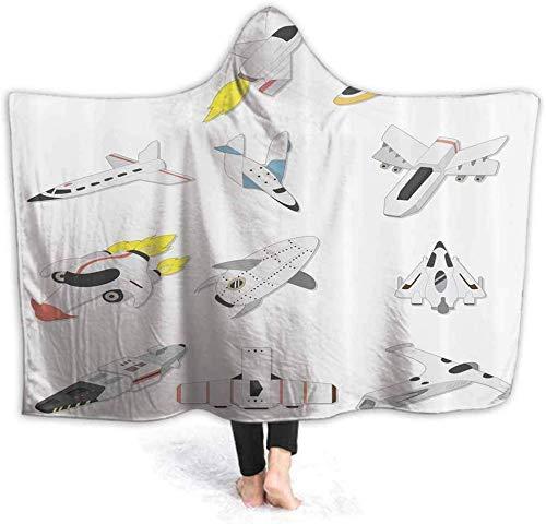 hgdfhfgd Envuelva la Manta con Capucha Viajando al Espacio Envuelva Poncho Envuelva con Suave Sherpa Fleece | Manta de Felpa y Abrigada (con Capucha) fashion1090