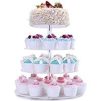 Fobuy - Soporte para cupcakes (acrílico, redondo, 4 mm de grosor), 4 niveles