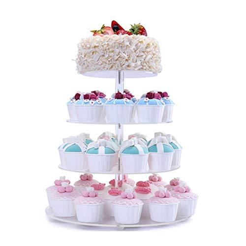 Fobuy Ständer für Muffins mit 5runden Ebenen, Boden und Abdeckung, aus Acryl, ideal für Hochzeitsfeiern (insgesamt 7 Ebenen), acryl, 4 Ablagefächer