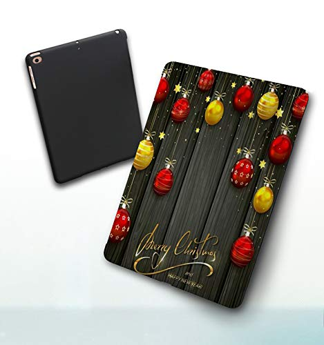 iPad 5./6. Generation shell,iPad 9.7 2018/2017,Christmas Cold Box Celebrate Congratulation Greeting Star Cheerful Drawn Year Winter Double-fold Stand with Shockproof TPU Back Cover, Auto Wake/Sleep