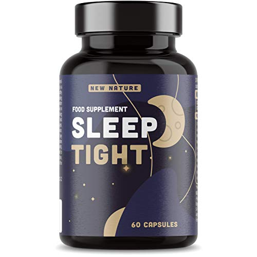 Sleep Tight Natural Sleep Aid - Non-Habit Forming - Magnesium & Vitamin B12 for Normal Function of The Nervous System - 60 Vegan Capsules - Sleeping Pills with Chamomile, Ashwagandha & L-Theanine