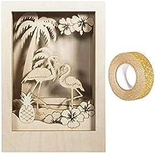 RAYHER houten lijst met 3D-Flamingo-motief, 20 x 30 cm + Afplakband gouden pailletten 5 m gratis