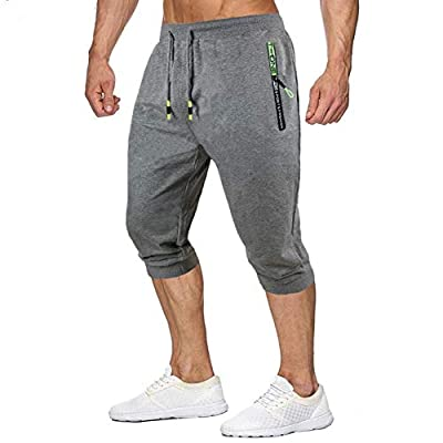 Amazon - 63% Off on Men's Jogger Capri Pants 3/4 Casual Cotton Running Shorts Workout Gym