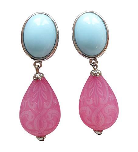 Sehr leichte große Ohrstecker Ohrringe silber-farben Stein hell-blau Anhänger pink Tropfen Ornamente Geschenk für Frauen Statement Designer JUSTWIN