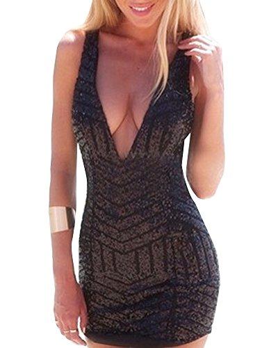 Gladiolus Vestiti Donna Sexy Sequin Scollo a V Minigonna per Club