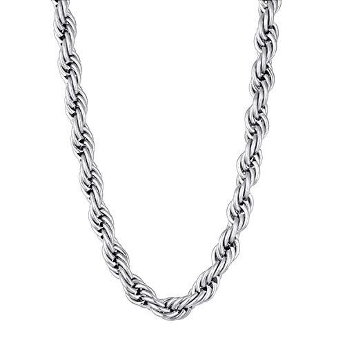 YL Edelstahl 2,5-3 mm breite Dicke robuste 60 cm Anhänger Halskette Kette Hummer Verschluss Link Männer Charms Medaillon Twist Rope Chain