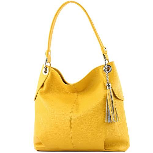 modamoda de - T185 - ital. Damen Schultertasche aus Leder, Farbe:Sonnengelb