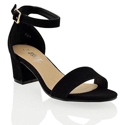 ESSEX GLAM Sandalo Donna Nero Ecopelle Scamosciata Tacco Medio-Basso con Cinturino alla Caviglia EU 38