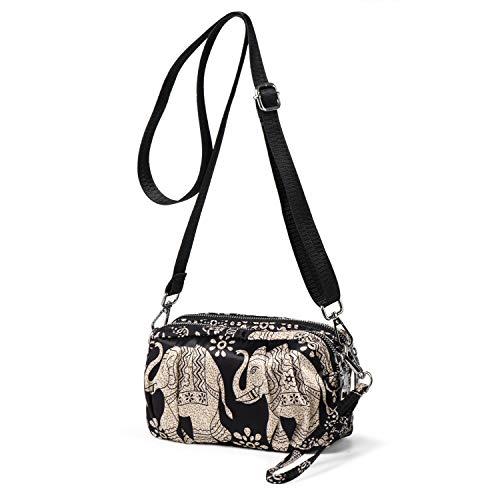 LaRechor Seidig Nylon Kleine Umhängetasche Handtasche Clutch Tasche mit Handschlaufe für Sommer Reise Abend, Glatt Nylon (Elefant)
