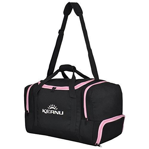KEANU Praktische Sporttasche 60 Liter :: faltbar, Wäschefach, Wertfach Fitness Yoga Sauna :: Grosse multifunktionale Tasche für Gym Sport Reise Wellness :: Reisetasche (Auswahl) (Schwarz Pink)