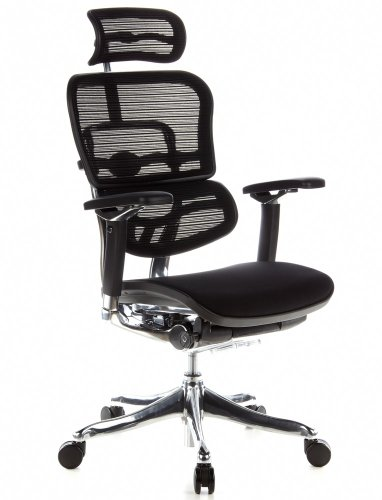 hjh OFFICE 652650 silla de oficina ERGOHUMAN PLUS tejido de malla / tejido negro, sólido aluminio pulido, ergonómico, sillón alta gama