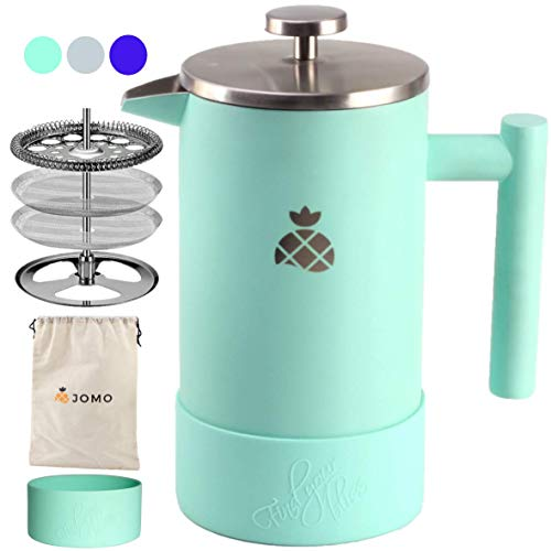 Cheapest Price! French Press Coffee Maker with Silicone Sleeve and Travel Bag by JOMO, Durable Double Wall Stainless Steel for Hotter Coffee and Tea (34 ounce/1 Liter), Designed for the Kitchen and the Outdoors
