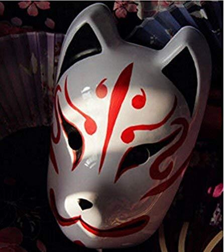 Máscara de zorro japonés, de Anniup, para Halloween, cosplay, de cara completa, pintada a mano, Kitsune, cosplay