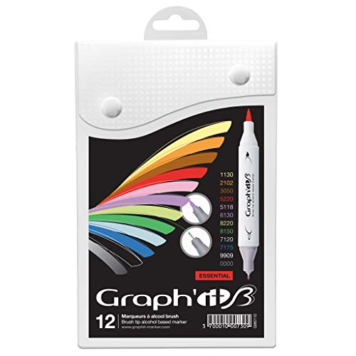 graph' it Brush gi80110 Essential Set rotuladores de doble punta (12 unidades), colores surtidos